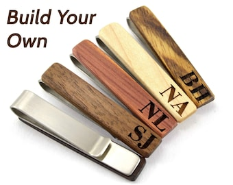 Custom Wooden Tie Clip - Wood Groomsmen Tie Clip - Wooden Tie Clip Gifts for Him - Engraved Tie Clip Set -Valentines Tie Clips Groom Tie Bar