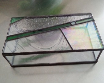 Trinket or jewelry box stained glass emerald green