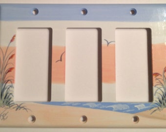 Sand Dune with Sea Oats Triple Rocker Lightswitch Cover