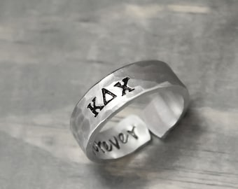 Kappa Delta Chi Ring, Sorority Ring, Sorority Jewelry, personalized jewelry, hand stamped ring, handstamped jewelry,Sorority Jewelry