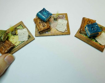 Old miniature book with inkwell and old letter