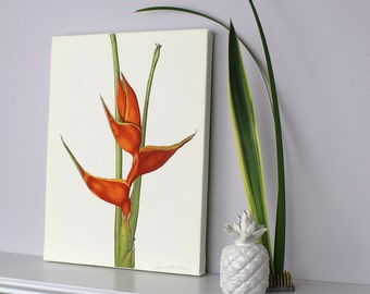 Botanical Canvas print - Tropical flower Illustration- Heliconia art print - Lobster Claw watercolour - Art for Living room - Christmas gift