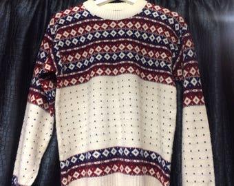Vintage Christmas Jumper, Sports Sweater, Retro Sweatshirt, Mens Jumper, Oversize Womens, Medium / Large, Wool Jumper