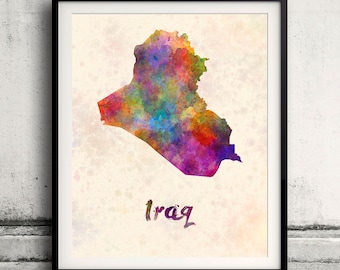 Iraq map etsy iraq map in watercolor instant download 8x10 inches poster wall art illustration print art sciox Gallery