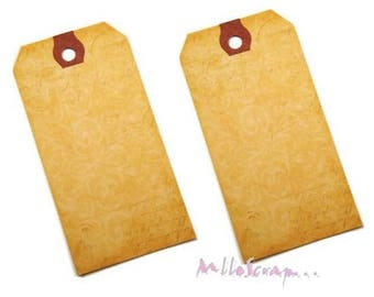 Set of 2 distressed embellishment cardmaking scrapbooking tags *.