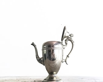 Vintage Tarnished Silver Plated Teapot, Silver Teapot, Coffee Pot, Tea Party