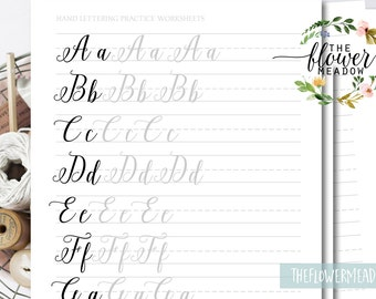 Brush Lettering Worksheets Wedding Calligraphy Tutorial Alphabet Practice Learn Hand Guide 16