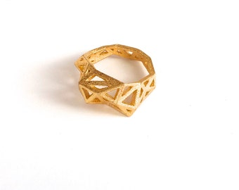gold jewelry - Slim Triangulated Ring in Plated Gold. 3d printed, architectural geometric modern statement ring