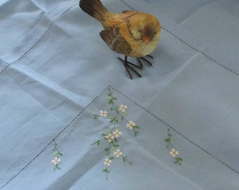 Embroidered Tablecloth Vintage Linen Bridge Card Table Cloth Blue Flower Embroidery Linen Hem Stitched Table Topper