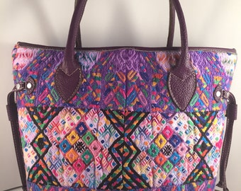 Guatemalan Purple Tote Bag, Hand Embroidered Guatemalan fabric and genuine leather