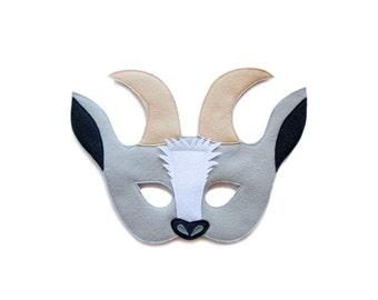 Gray Goat Felt mask, Felt Goat mask, Kids Goat costume, Adult Farm animal mask, goat pretend play, dress up mask, felt toys, theater mask