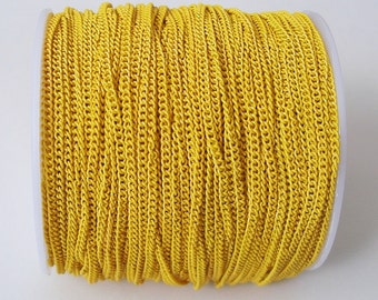Yellow Electroplated  Twist  Curbe Chain Colored Chain-15 ft.