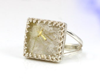 MOTHER'S DAY SALE - Silver ring,rutilated quartz ring,gold rutilated ring,square ring,trim setting,stack ring,gemstone ring