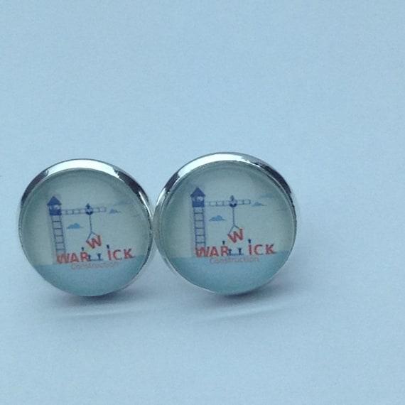 JW Warwick Construction Post  Earrings.  Blue velvet gift pouch included. #112