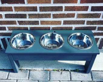 3 Bowl Elevated Dog Feeder - Feeder Stand - Dog Bowl - Dog Food Bowl - Dog Food Stand - Dog Feeder