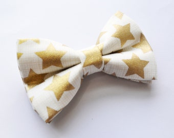 Beige bow tie with Gold Star printed Bow Tie, boy bow tie, baby bow tie, adult bow tie, men's bow tie, Gold bow tie, Star bow tie
