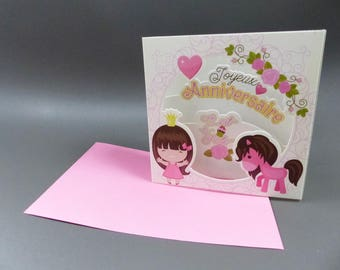 3D birthday card to ask Princess pony pink heart flower
