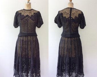 vintage crochet dress / black lace dress / Italo Crochet dress