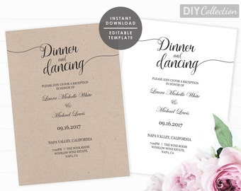 Reception Only Invitation Template, Printable reception only invite, INSTANT DOWNLOAD, Editable PDF Template, Invitation Template, GD_WRO101