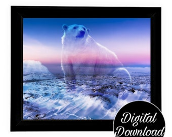 Polar Bear Art Digital Download