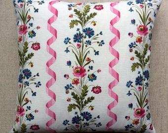 Vintage French Floral Fabric Cushion 40cm x 40cm