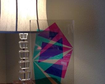 """Lucite Clear Sculpture Block 3 D Multiple colors Contemporery exquisit 20"""" H x 12"""" W"""