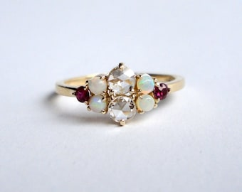 Rose Cut Diamond, Opal and Ruby Ring, Engagement Ring, Wedding Band, 14K Yellow Gold