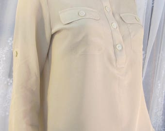 Vintage Banana Republic pale mustard silk blouse long sleeve Petite Small