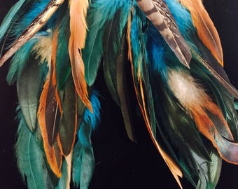 Natural Native Feather Shoulder dusters/ Earrings