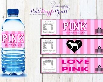 Customizable Printable Victoria's Secret Water Bottle Labels- Digital file ONLY