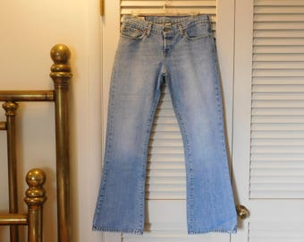 Vtg Abercrombie And Fitch Jeans Usa Made Button Fly Flare 4S Lower Rise Blue C
