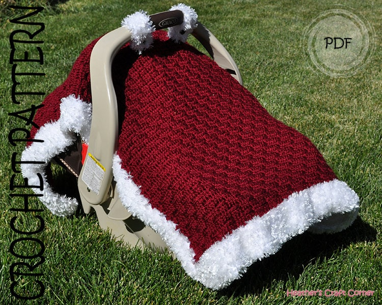 ?zoom & Crochet Pattern Santa Baby Car Seat Canopy Blanket US u0026 UK