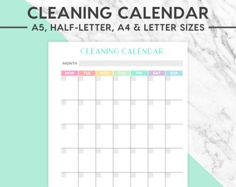 NEW! CLEANING CALENDAR Printable | Pastel, A5 size, A4 size, Half-Letter size, Letter size,