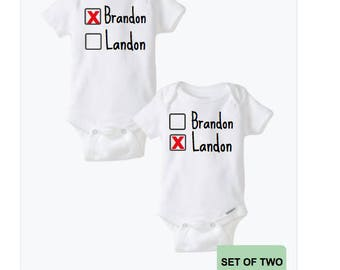 Twins baby gift twins outfits twin baby clothes twin twins baby gift twin outfits baby clothes personalized set matching custom boy girl name shower gift brother identical sister negle Choice Image