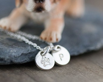Pet Necklace Personalized | Custom Dog Gifts for Owners | Pet Mom Paw Print Name Jewelry | Hand Stamped Jewelry | Pet Loss Gift