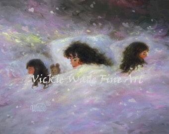 Three Girls Sleeping Print, mother and daughters sleeping, girls bedroom wall art, gift for mom, three sisters sleeping art,Vickie Wade