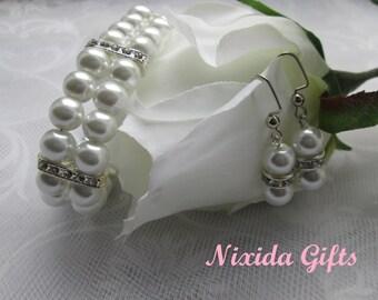 Pure White Glass Pearl Rhinestone Bracelet and Earring Set