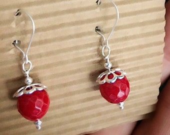925 silver Monachella earrings with red bamboo coral.
