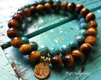 Protection, Strength + Calm Stack of 2 Tigers Eye + Turquoise Magnesite Spiritual Junkies Yoga Bracelets w/ Hill Tribe Gold Vermeil Lotus