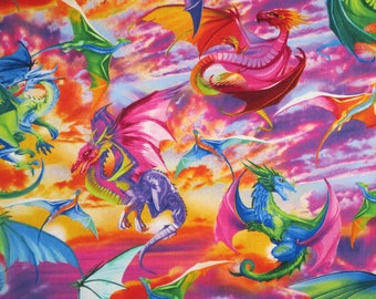 Amazing Bright Sky and Dragons Print Pure Cotton Fabric--By the Yard