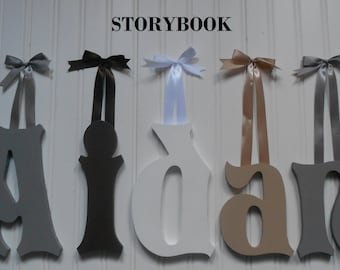 """Wooden Wall Letters - 10"""" Size - Painted - Storybook plus Various other Fonts - Gifts and Decor for Nursery - Home - Playrooms - Dorms"""
