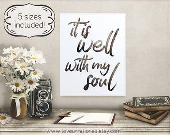 it is well wall art, it is well with my soul, it is well hymn, hymn it is well, with my soul hymn, Christian wall art, wall art it is well