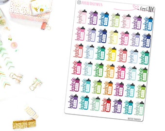 Water Tracker - Planner stickers, Water Tracker, Functional Stickers, Icon Stickers,  Colorful stickers, Water stickers, hydrate stickers