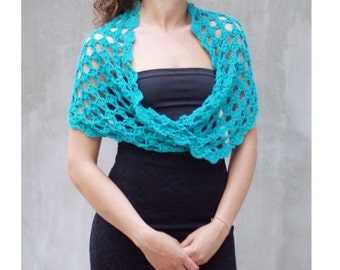 Hand crocheted teal blue infinity lace scarf wrap in feminine style for wedding