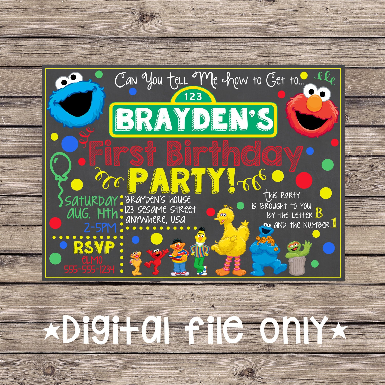 Sesame Street Invitation / Sesame Street Birthday Chalkboard ...