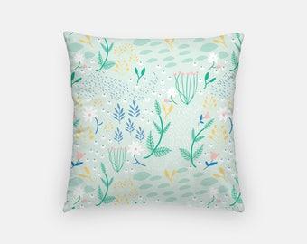 Mint Southwestern Floral Throw Pillow