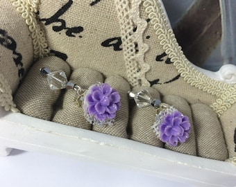 d-rings ' Silver dalhias earrings purple