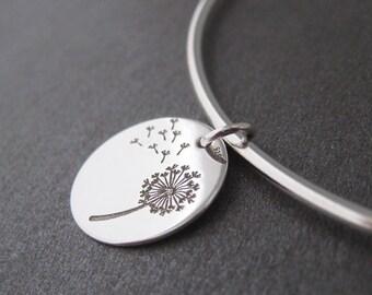 Thin Bangle Bracelet etched lozenge dandelion charm Silver 925/1000