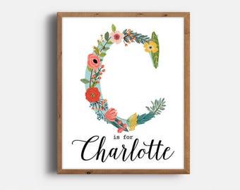 Boho Nursery, Charlotte, Nursery Art, Kids Room Decor, Monogram, Art Print, Personalized, Floral Nursery, Printable, Digital Download