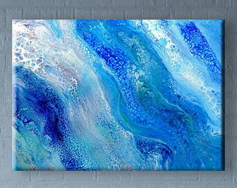 70x50 cm Original abstract acrylic fluid pour painting on canvas #28 blue 28x20 inch